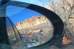 Capitol Reef National Park, Utah, in a car mirror