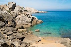 Capo Testa beach and rock formations in Santa Teresa di Gallura, Sardinia, Italy