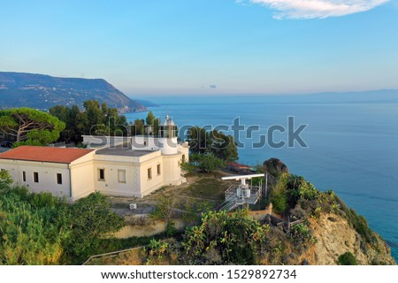 Capo Vaticano, Calabria, Italy. Aerial view of the coastline and lighthouse