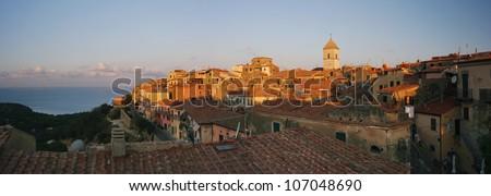 Capoliveri panorama of old city, Elba, Tuscany, Italy