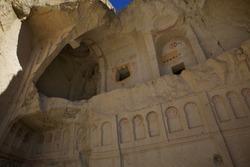 Cappadocia National Park, near the town of Göreme. The ruins of the church. Formerly Christianity.