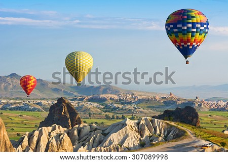 Cappadocia. The great tourist attraction is the Cappadocia balloon flight. Cappadocia is known around the world as one of the best places to fly with hot air balloons. Goreme, Anatolia, Turkey - Shutterstock ID 307089998