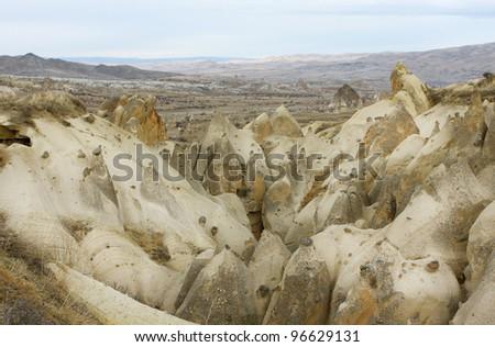 Cappadocian valley near Goreme town in Turkey.