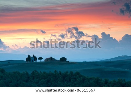 Cappella di Vitaleta , Val d'Orcia in Tuscany, Italy. - stock photo