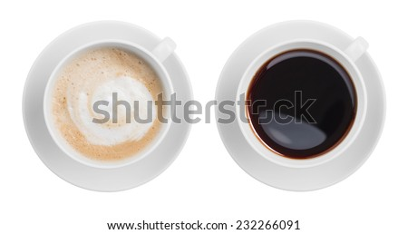 cappuccino and black espresso coffe cup top view isolated #232266091
