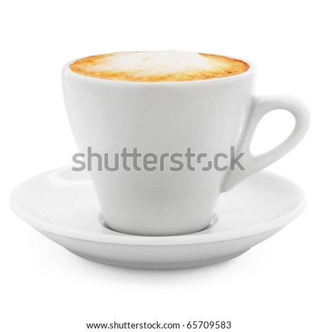 cappuccino coffee in a white cup on a white background + Clipping Path