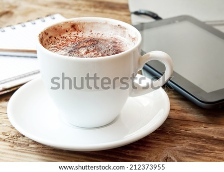 Cappuccino Cup . Tablet and Notebook with Pencil, Office Coffee Break Concept