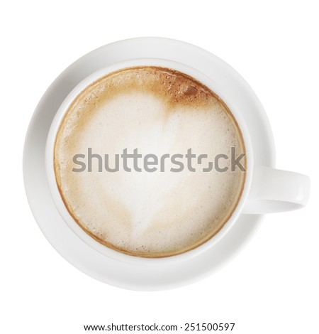 Cappuccino cup with saucer isolated on white with clipping path. Top view #251500597
