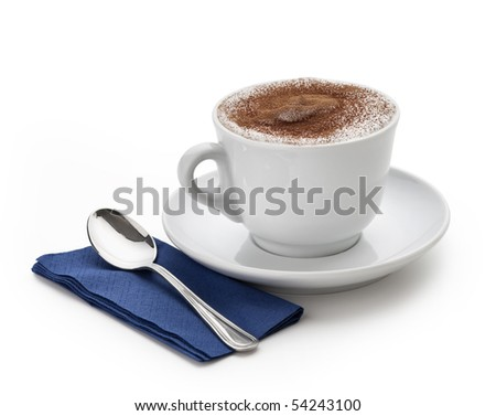 cappuccino cup with spoon on white background