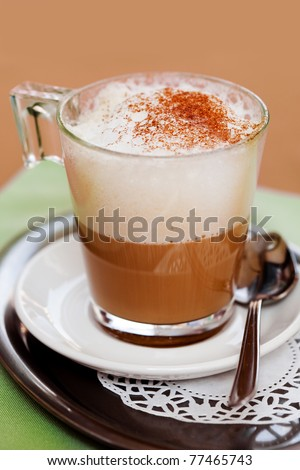 Cappuccino glass cup with spoon