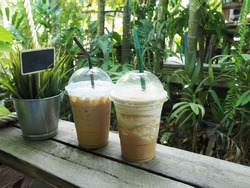 Cappuccino iced coffee spin with green straw and Mocha iced with dark brown straw on the wood in the garden.