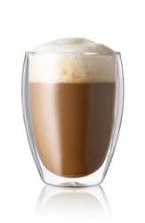 cappuccino in glass with double walls isolated on white background