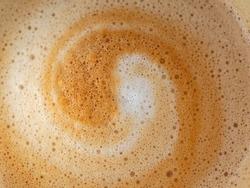 Cappuccino milk foam spiral closeup