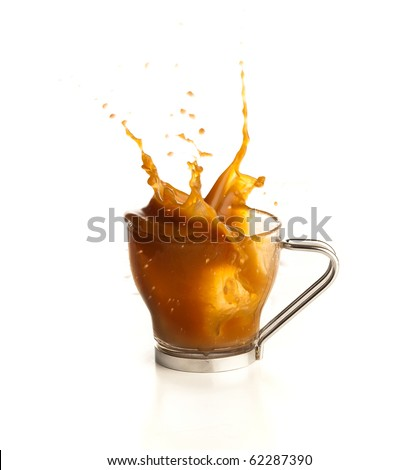 cappuccino splash on white background - stock photo