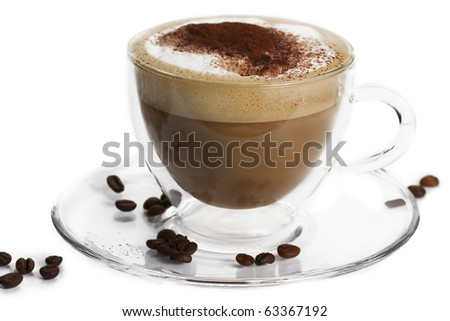 cappuccino with cocoa powder and coffee beans in a glass cup on white background