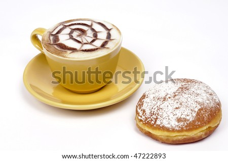 Cappuccino with krapfen