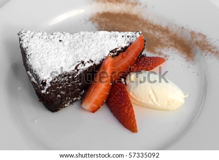 Caprese Chocolate and Almond Tort with creme fraiche