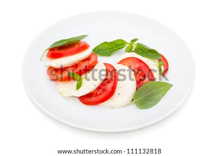 caprese salad isolated on white