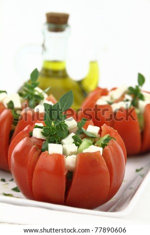 Caprese salad with tomatoes, mozzarella and basil