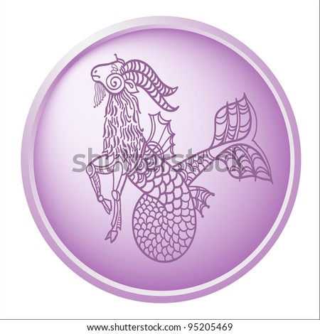 capricorn, button with sign of the zodiac