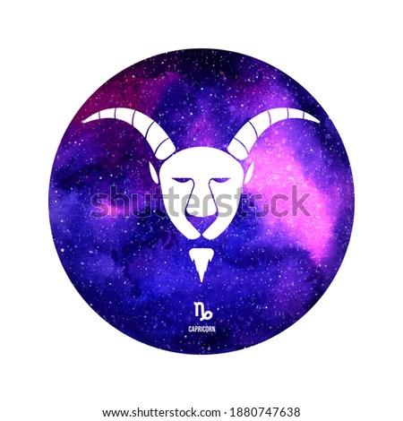 Capricorn horoscope sign in twelve zodiac with galaxy stars background Stock photo ©
