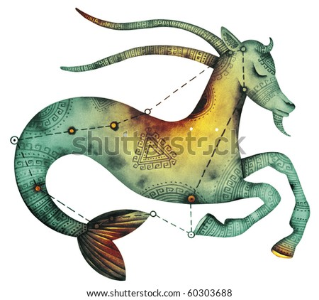 Capricorn. Logo-like Zodiac Star Signs isolated on a white background
