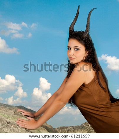 Capricorn or Goat woman, this photo is part of a series of twelve Zodiac signs of astrology