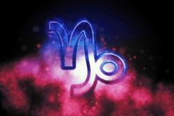 Capricorn zodiac sign, night sky,Horoscope Astrology background,Capricorn horoscope symbol, Pink and Blue