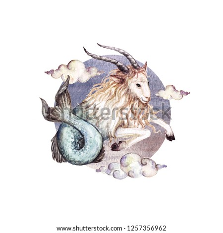 Capricorn - Zodiac Symbol. Watercolor Illustration.