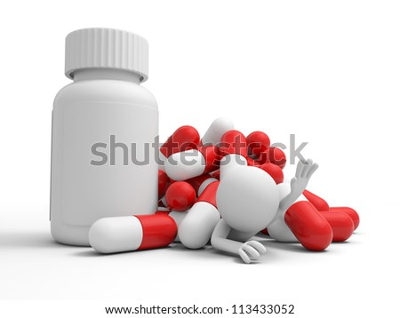 Capsule/bottle//a man for help, pressed by a pile of capsules
