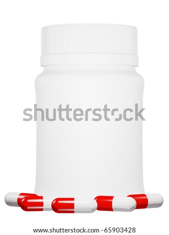 Capsule pills and white plastic bottle on isolated background.