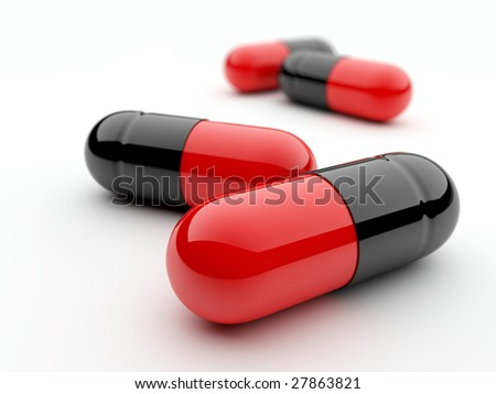 Capsule pills on white background with dof effect