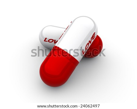 "Capsule with an inscription ""love"" close up"