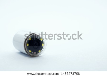 Capsule with camera for capsular endoscopy close up on white background, copy space Foto d'archivio ©