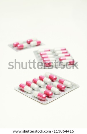 Capsules and pills packed in blisters.