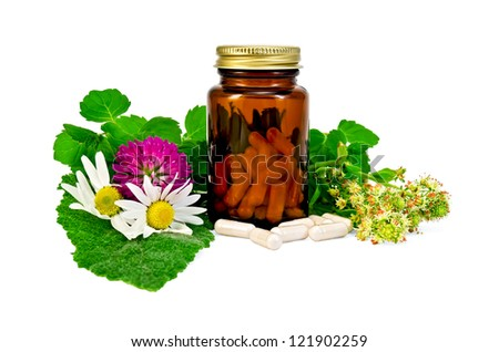 Capsules in a brown sealed jars and sprigs of mint, flowers of chamomile, clover, mignonette, sage leaf isolated on white background