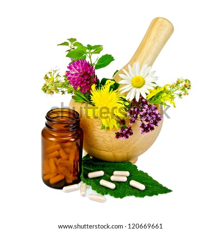 Capsules on green leaf of sage, brown jar, wooden mortar with a sprig of mint, flowers of chamomile, clover, oregano, mignonette, elecampane isolated on white background