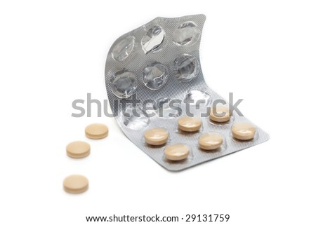 Capsules with vitamin packed insulated on white background