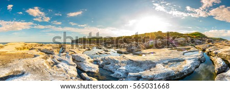 Captain Cook Drive at Kurnell is on the south eastern  of Botany Bay where  Captain James Cook landed and making first contact with the original inhabitants of the area, New South Wales Australia #565031668