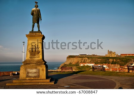 Captain Cook statue in Whitby Harbour Bay, North Yorkshire