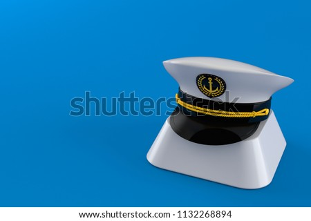 Captain s hat on computer key isolated on blue background. 3d illustration 8db9c38eb400