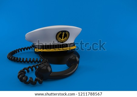 Captain s hat with telephone handset isolated on blue background. 3d  illustration 8047ccee2661