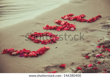 Caption word love in the sand of the sea. Love inscription from the petals of roses.