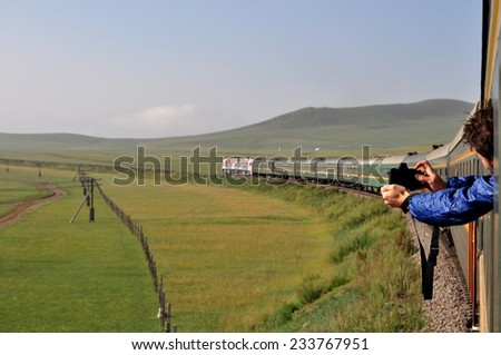 capturing the landscape from a train