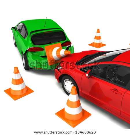 Car accident and downed traffic cones. Isolated On White Background