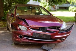 Car accident damaged car on parking