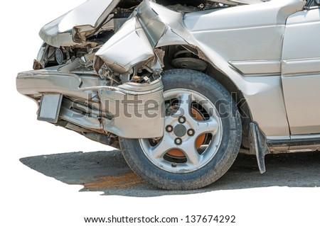 car accident, damaged vehicle after crash