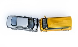 Car accident. Generic cars crashed. A yellow van crashed against a silver sedan. Viewed from the top. Isolated on white background.