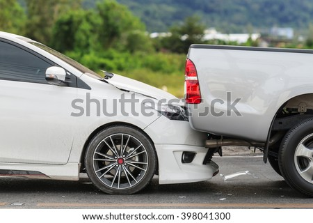 Car accident involving two cars on the road