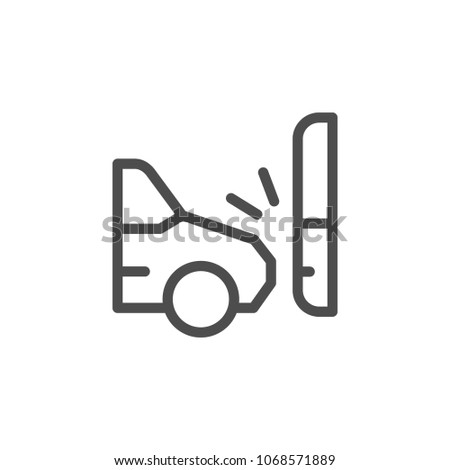 Car accident line icon isolated on white